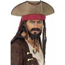 Chapéu de pirata Fantasia Carnaval e Halloween (com dreadlocks)
