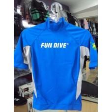 Camisa Lycra Fun Dive Manga Curta Azul